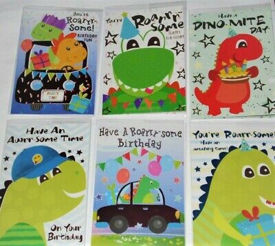 """JUST 36p! DINO CARDS x 36, superb value, wrapped, foiled, CHILD BIRTHDAY. 5"""" X 7"""