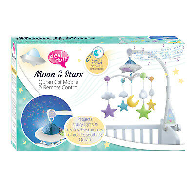 The Desi Doll ® Moon & Stars Baby Bed Cot Mobile with Light Projection & Quran