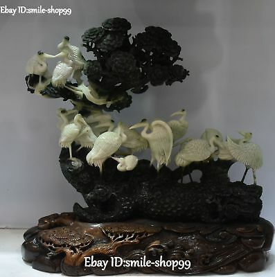 """18"""" Top Pure Natural Dushan Jade Carving Red-crowned crane Bird Family Pine Tree"""