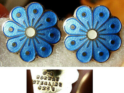 Vtg David Andersen Norway Sterling Silver Blue Guilloche Enamel Flower Earrings