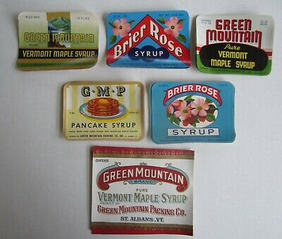 Vintage Original Label 1910s Green Mountain Syrup label Great graphics rare!