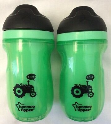 New Tommee Tippee Green Straw Non Spill Tractor Insulated Bottles x 2 260ml