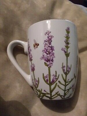 Floral Mug with Bees /Lavender/ Butterflies  Very Pretty Ceramic Gift Item