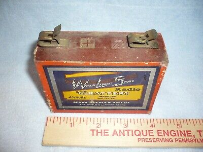 Antique  sears Dry Cell  4.5 Volt    Battery tube  Radio great graphics