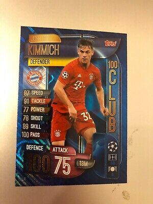 Match Attax Extra 2019/20 Joshua Kimmich 100 Hundred Club No Clu 4 Mint
