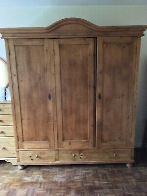 Antique Pine Victorian Original Triple Wardrobe Vgc Dismantles Drawers Shelves