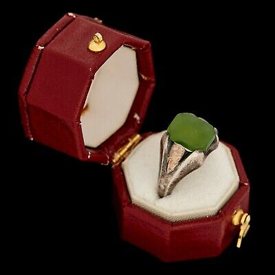 Antique Vintage Art Deco 925 Sterling Silver Green Nephrite Jade Band Ring S 5.5
