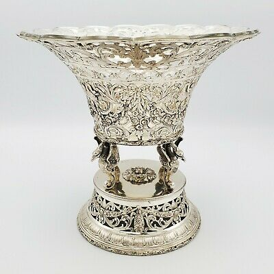 German .800 Solid Silver Compote Bowl w Glass Liner Centerpiece Swans Floral