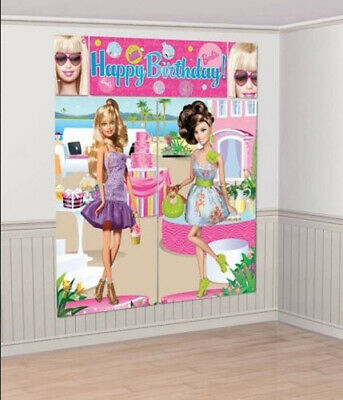 BARBIE DOLLS ALL DOLL'D UP Scene Setter HAPPY BIRTHDAY party wall photo BACKDROP