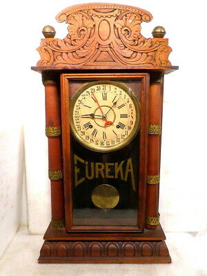 Eureka Clock Company Calendar Shelf Clock With Full Columns--VERY COLLECTABLE