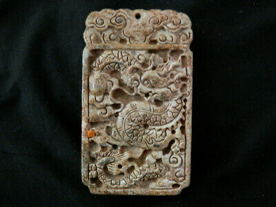 Beautiful Large Chinese Old Jade Hand Carved *Dragon* 2Faces Pendant S079