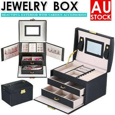 Large Jewellery Box Rings Necklace Watches Earring Storage Organiser Travel Case