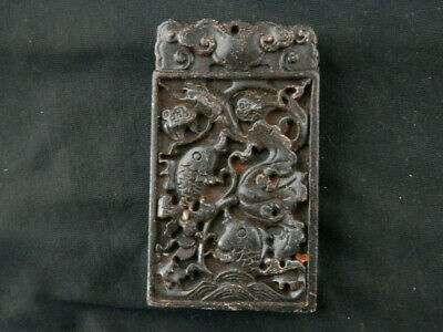 Beautiful Large Chinese Jade Hand Carved *2Carps/Lotus* 2Faces Pendant S167