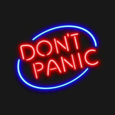 """Don't Panic 17""""x14"""" Neon Sign Lamp Light Beer Bar With Dimmer"""