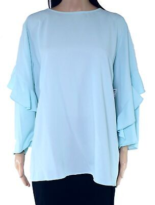 Alfani Women's Blouse Light Blue Size XL Ruffle Cascade Flounce Crepe $69 #147