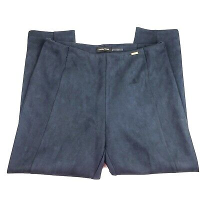 IVANKA TRUMP Blue Faux Suede Career Pull On Pants Women's Size XL Trousers