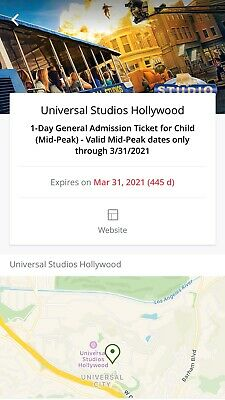 Universal Studios Hollywood General 1 Child mid-peak Ticket Ex.3/31/21 $90