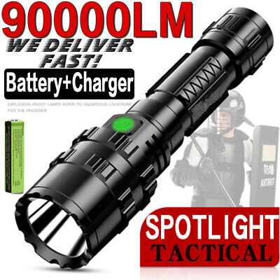 Super-Bright 90000LM Flashlight LED P70 Tactical Torch LED Rechargeable Battery