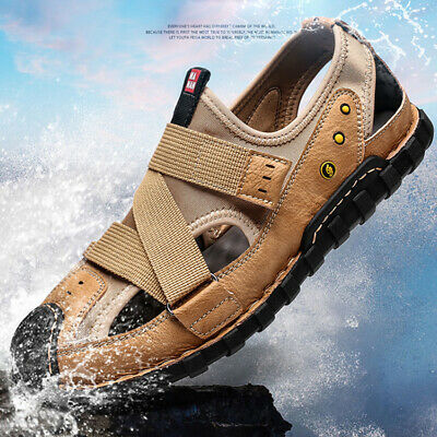 Mens Leather Sandals Summer Hiking Wading Shoes Closed Toe Fisherman Beach Shoes