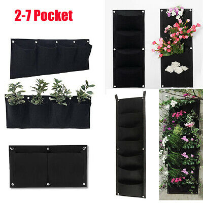 2-7 Pocket Planting Bag Hanging Wall Vertical Planter Hanging Flower Herb Garden