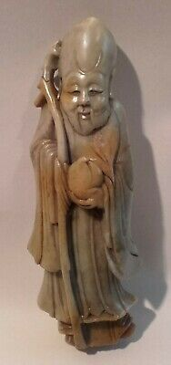 Antique Chinese Carved Soapstone figure of a scholar / Immortal.
