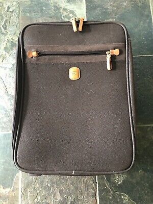 """Bric's 19"""" Trolley Brown Pebbled Micro Suede Carry On Rolling Suitcase Luggage"""