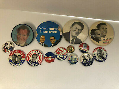 Republican Buttons Political Pins Lot Goldwater '64, Nixon, Ford Reagan w/Bush