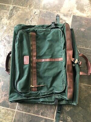VINTAGE ORVIS BATTENKILL Green CANVAS LEATHER GARMENT Carry BAG Luggage USA