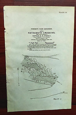 1901 Hathaways Crossing Map Dredging Miss River Commission Capt Howell