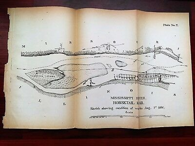 1880 Sketch Map Mississippi River Horsetail Bar Works Aug. 1 Jefferson Barracks