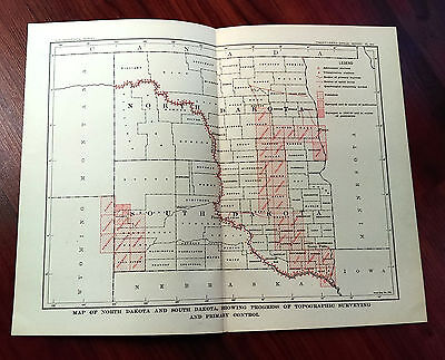 1904 USGS Color Survey Sketch Map of ND, SD, Triangulation Stations, MO River