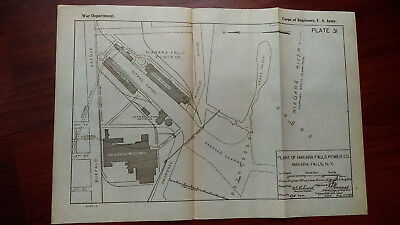 1919 Sketch Map Niagara Falls Power Co Plant Dredged Channel Riverside Ave