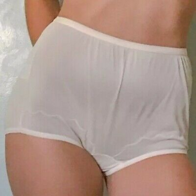 Vintage Dixie Belle Nylon Panties Granny Sissy Pant Embroidered White SHEER sz 8