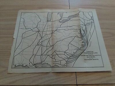 1880's Sketch Map showing Transportation Lines Boston, New York, Baltimore