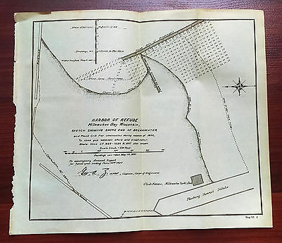 1897 Sketch Map of Harbor of Refuge Milwaukee Bay Wisconsin Yacht Club