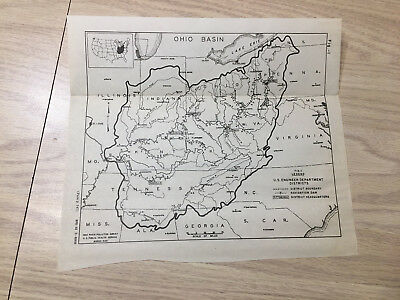 1942 Survey Map of Ohio Basin OH River Pollution Navigation Dam Engineering Dpt