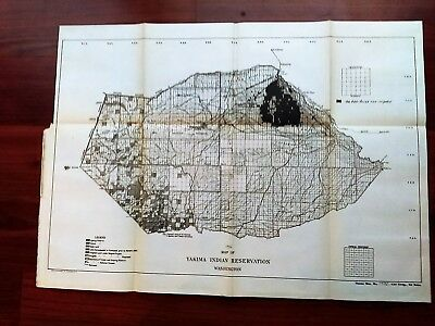 1914 Sketch Map Yakima Indian Reservation Washington School and Wapato Project