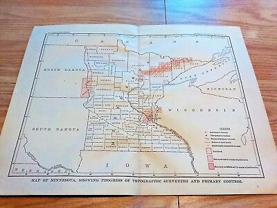 1904 Map of Minnesota Showing Progress of Topographical Surveying & Stations