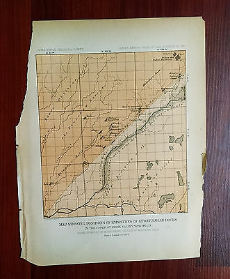 Late 1800's USGS Map Showing Keweenawan Rock St. Croix Valley Wisconsin