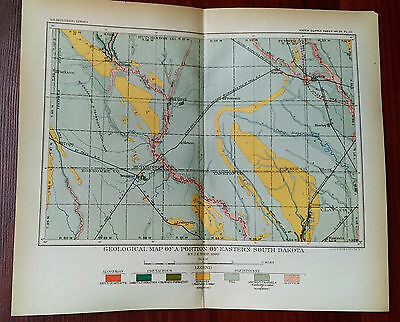 1899 USGS Survey Map Eastern SD Great Northern, Chicago, Milwaukee Railroad