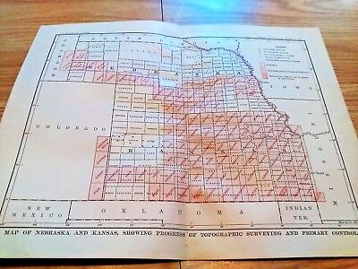 1904 Map of Kansas and Nebraska Progress of Topographical Surveying & Stations