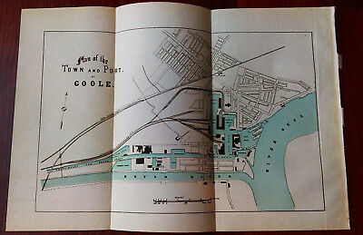 1910 Plan Map of Town and Port of Goole River Ouse Yorkshire Railway