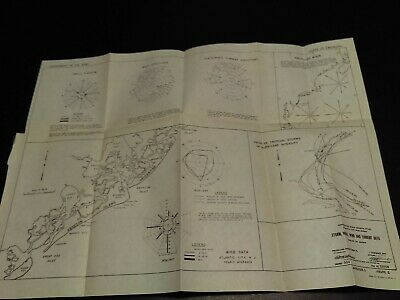 1948 Atlantic City New Jersey Storm Wind and Current Data Beach Erosion Map US