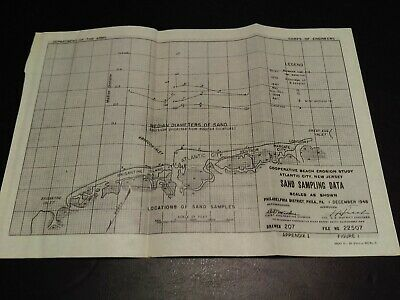 1948 Atlantic City New Jersey Sand Sampling Data Beach Erosion Map US Army