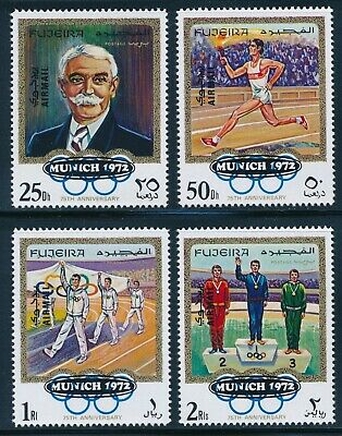 Fujeira - Munich Olympic Games MNH Coubertin Ovpt Set (1972)