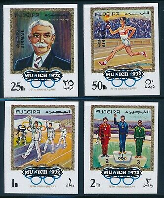 Fujeira - Munich Olympic Games MNH Coubertin Ovpt Imperf Set (1972)