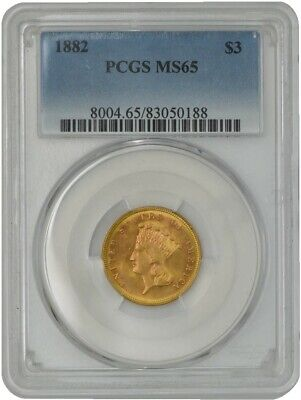 1882 $3 Gold Indian MS65 PCGS 942430-2