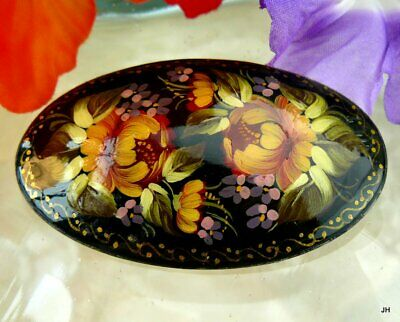 Beautiful Vintage Artist Signed Hand Painted Russian Lacquer Floral Pin Brooch!!