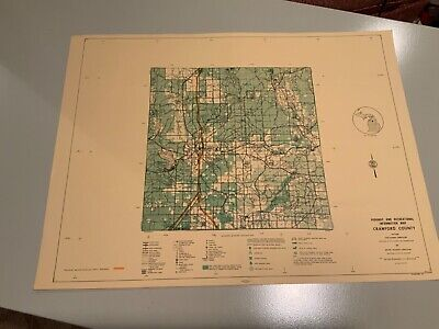 Vintage 1974 Crawford County Michigan DNR Highway & Recreation Information Map