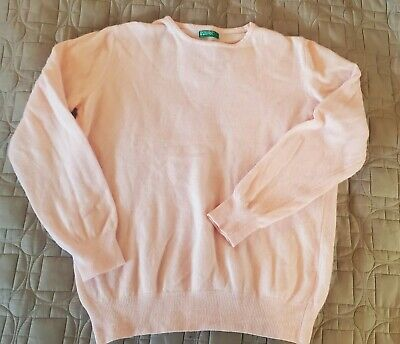Vintage Woman's UNITED COLORS OF BENETTON Pink Sweater Wool Blend Size L large